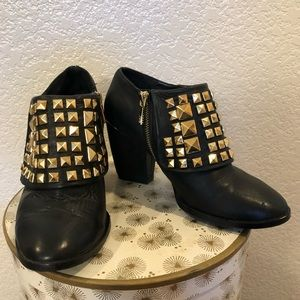 Zara leather studded ankle boots